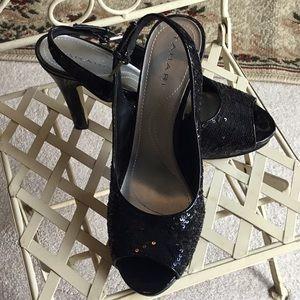 Tahari peep toe sequin sling back heels sz 7.5